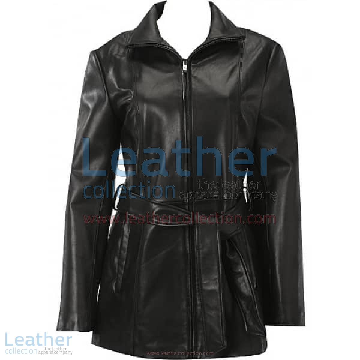 Belted Front Zipper Leather Fashion Coat | fashion coat,leather coat