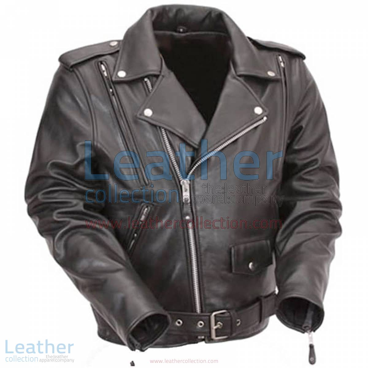 Black Leather Motorcycle Jacket with Exclusive Built-in Back Support   black motorcycle jacket,leather motorcycle jacket