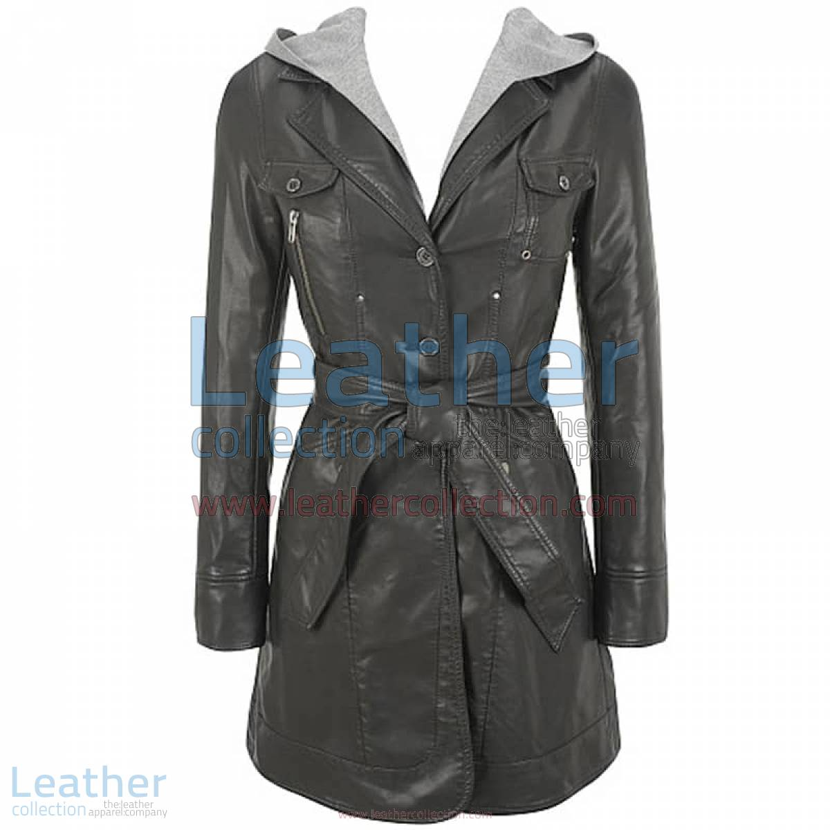 Hooded Leather 3/4 Length Coat Womens | 3/4 length coat womens,hooded leather coat