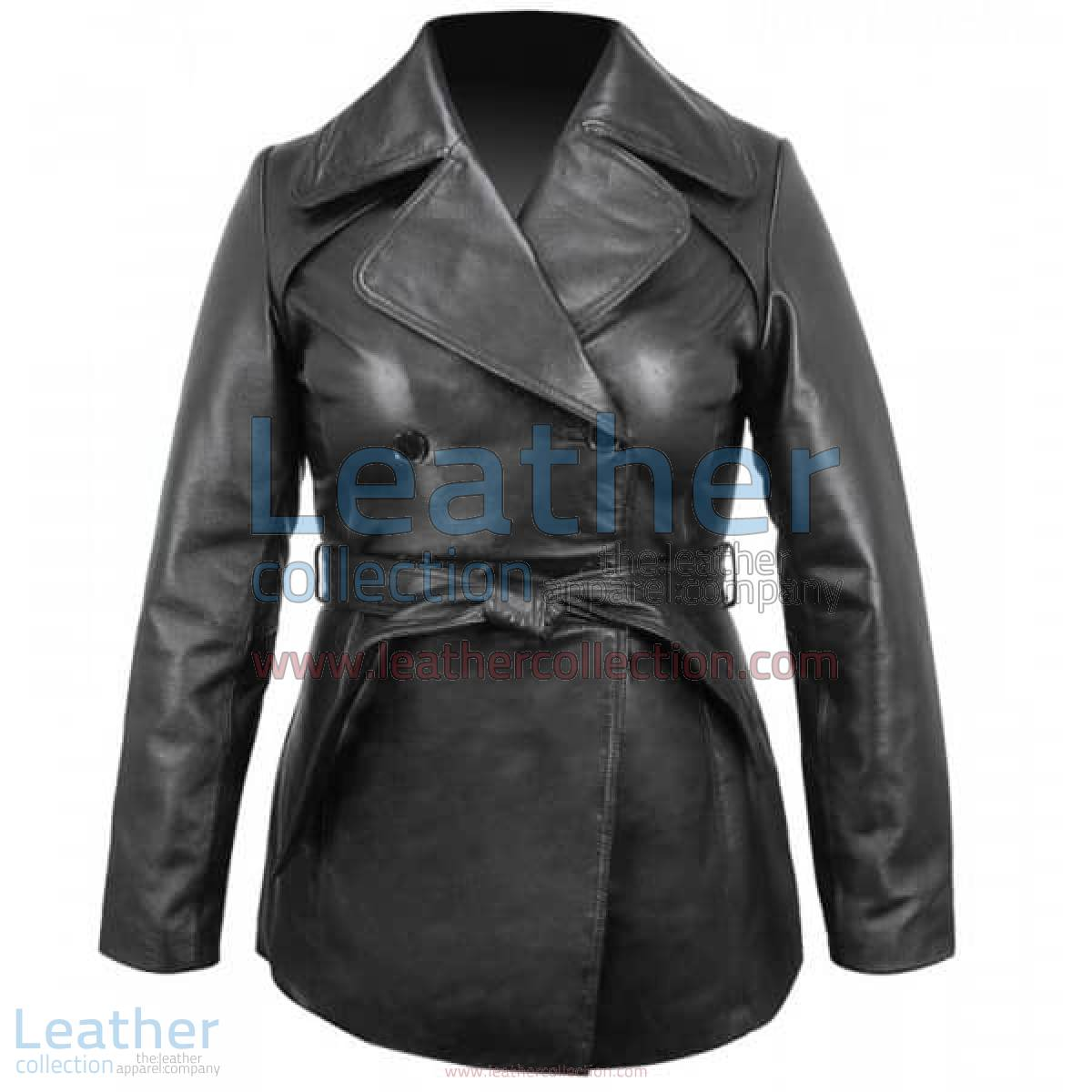 Ladies Leather Belted Pea Coat | ladies pea coat,leather pea coat