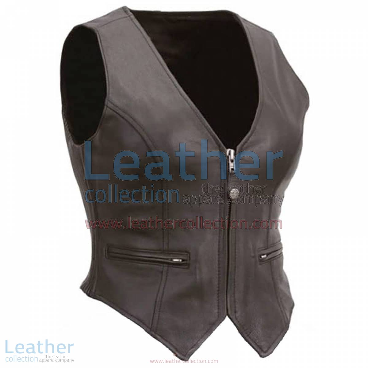 Ladies Motorcycle Leather Zipper Vest | zipper vest,leather zipper vest