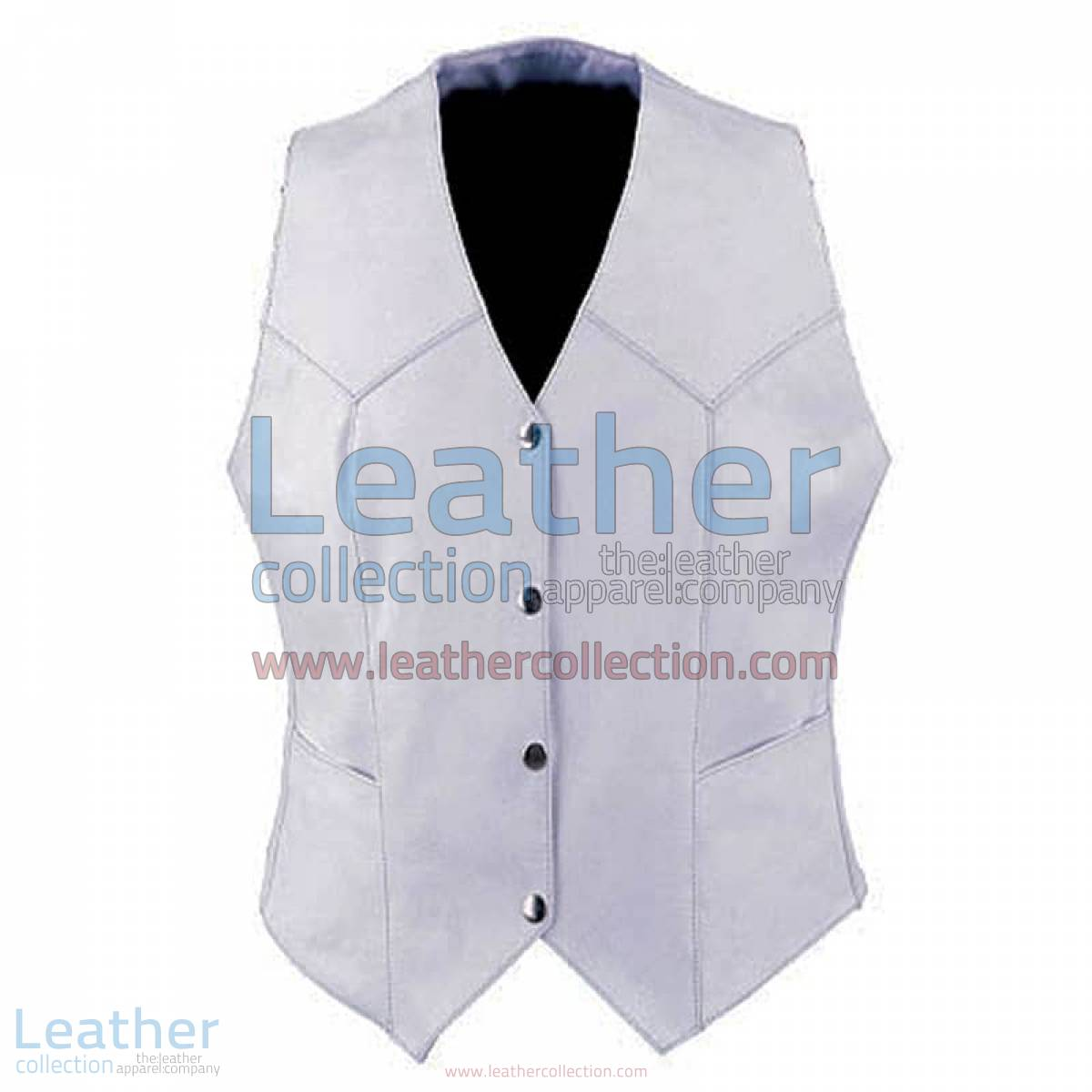 Ladies Vintage White Fashion Leather Vest | white leather vest,vintage vest
