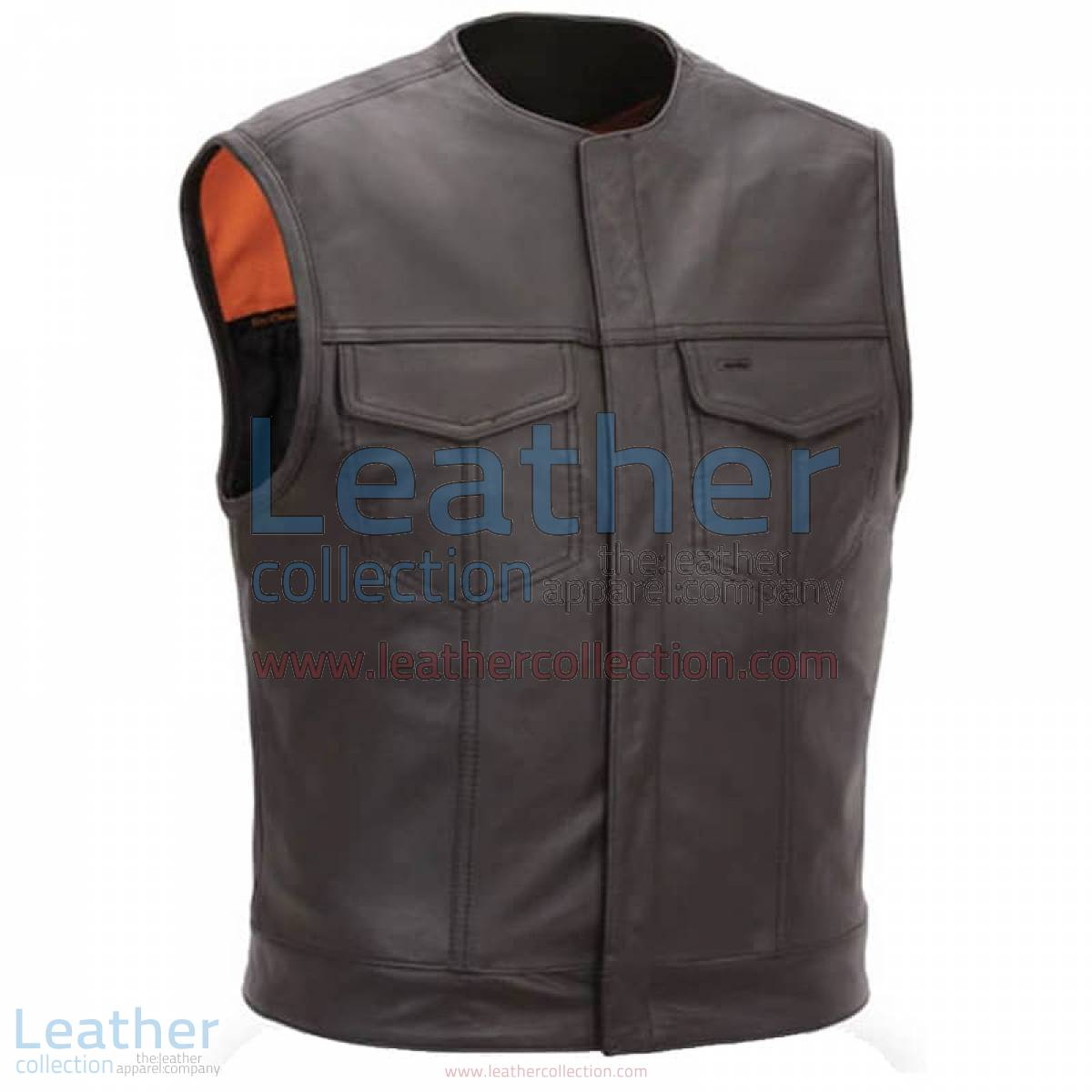 Men Leather Vest with Concealed Snap Front Closure | men vest,men leather vest