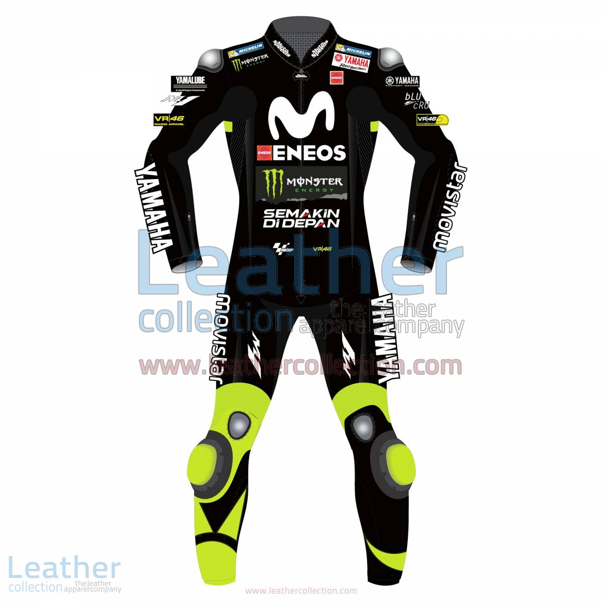 Valentino Rossi Movistar Yamaha 2018 Suit in Black | movistar yamaha,valentino rossi suit