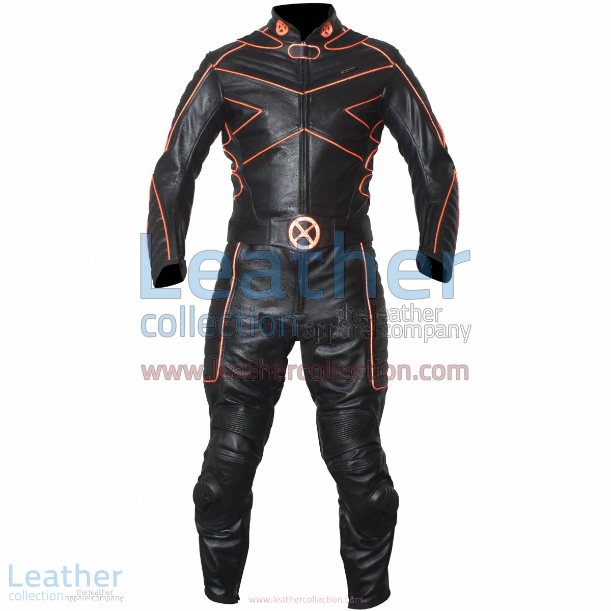 X-MEN Motorcycle Racing Leather Suit with Orange Piping | Motorcycle racing suit,X-MEN suit