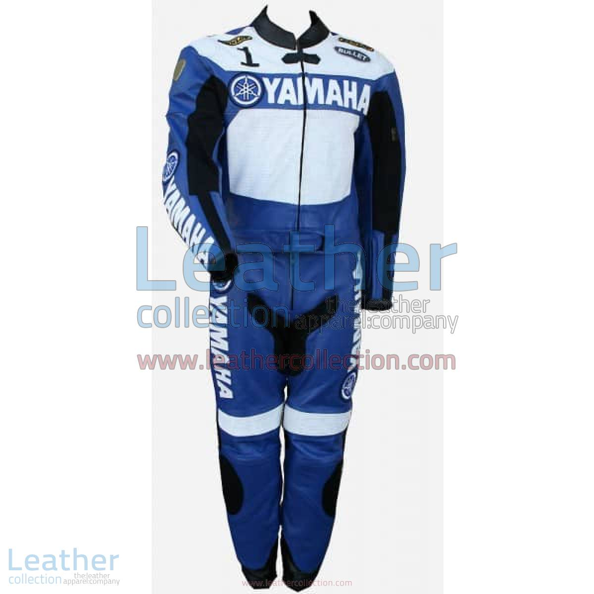Yamaha Racing Leather Suit Blue / White | racing leather suit,yamaha suit