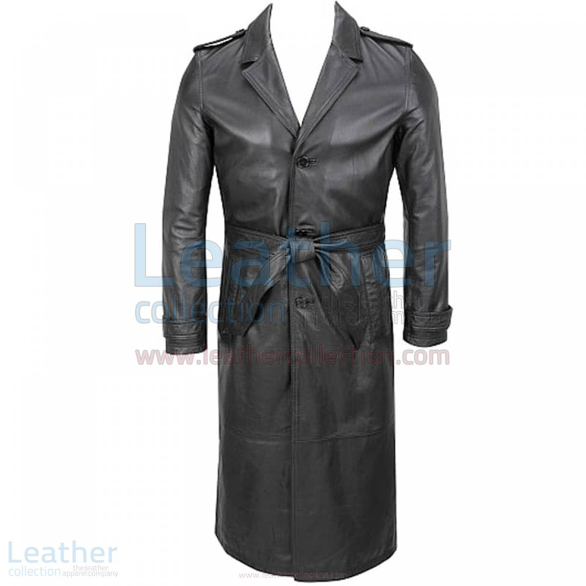 Belted Classic Long Leather Trench Coat –  Coat