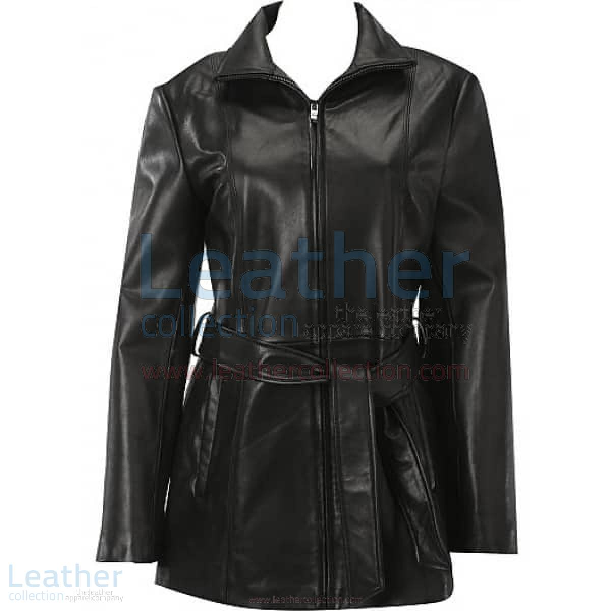 Belted Front Zipper Leather Fashion Coat –  Coat