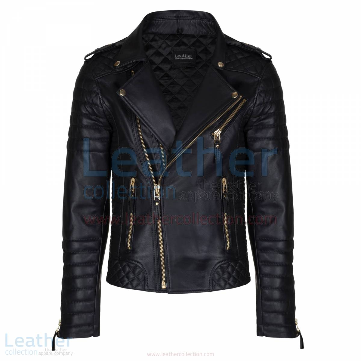 Quilted Mens Black Moto Jacket with Golden Hardware –  Jacket