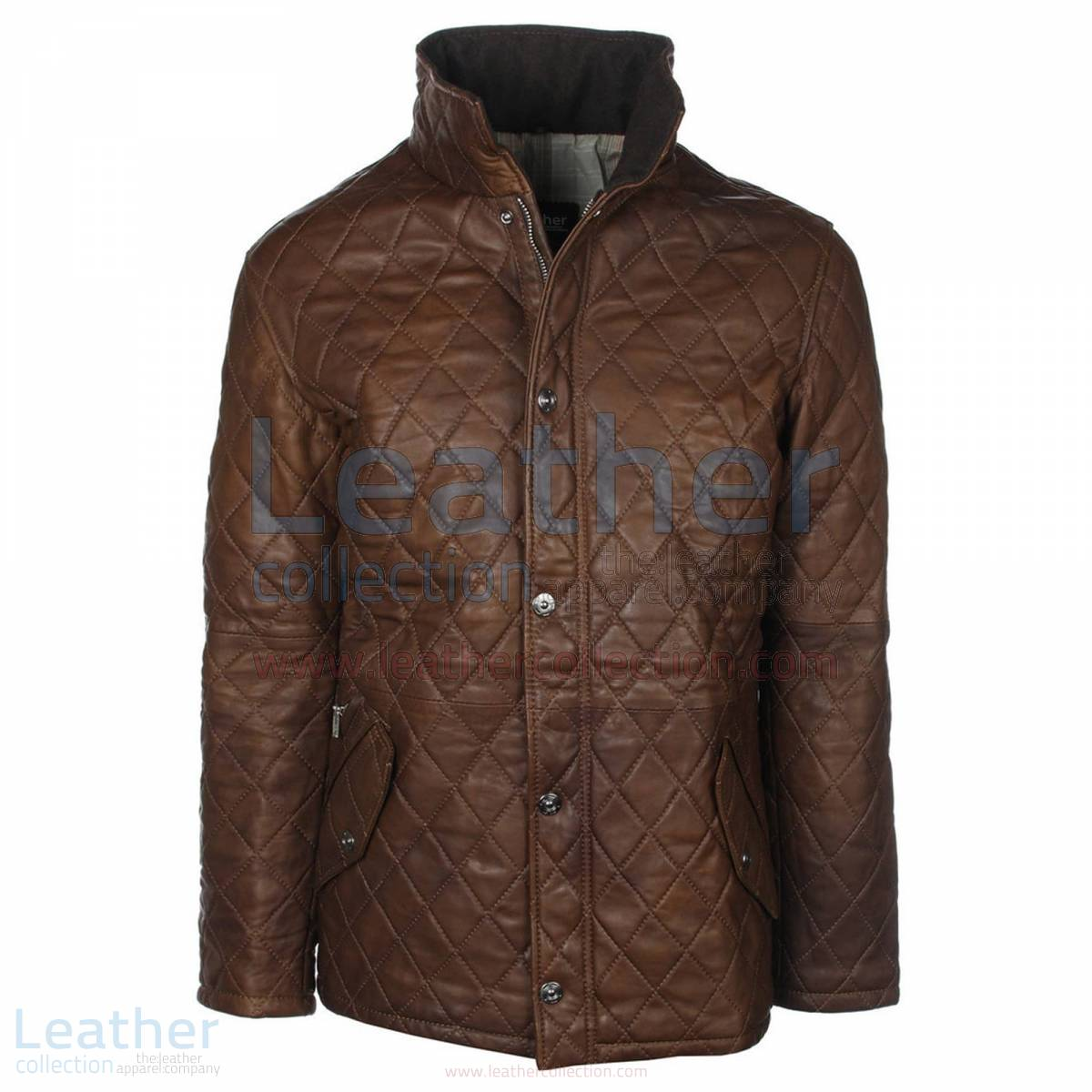Brown Diamond Leather Jacket