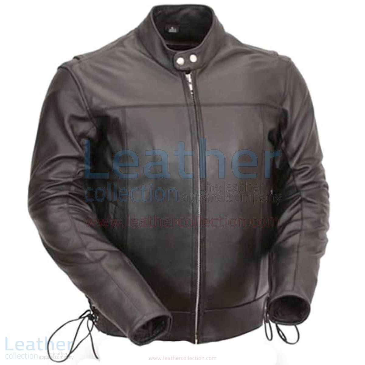 Classic Leather Scooter Jacket with Side Laces –  Jacket