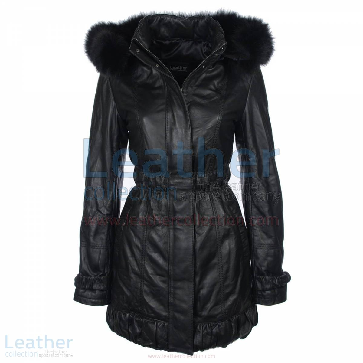 Fur Hooded Leather Coat for Ladies –  Coat