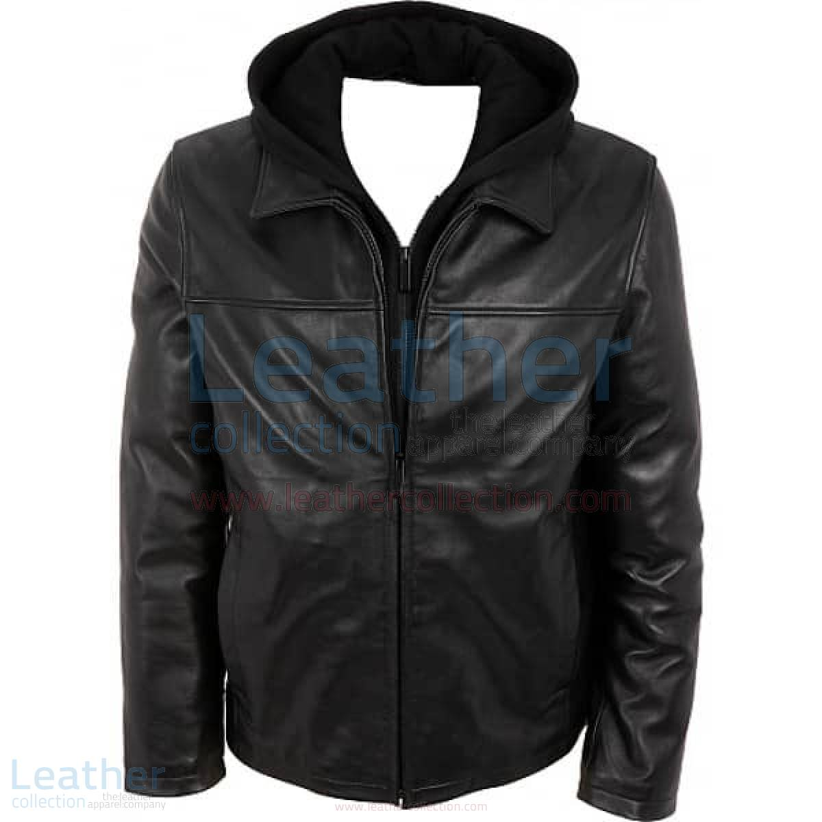 Leather Casual Jacket with Hood