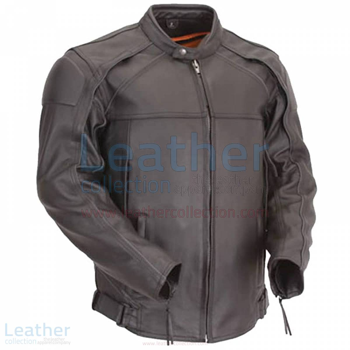 Leather Motorcycle Jacket with Reflective Piping –  Jacket