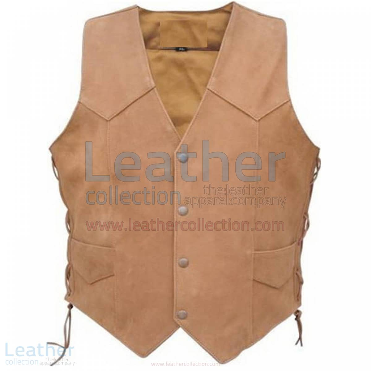 Men's Side Lace Gun Pocket Leather Vest