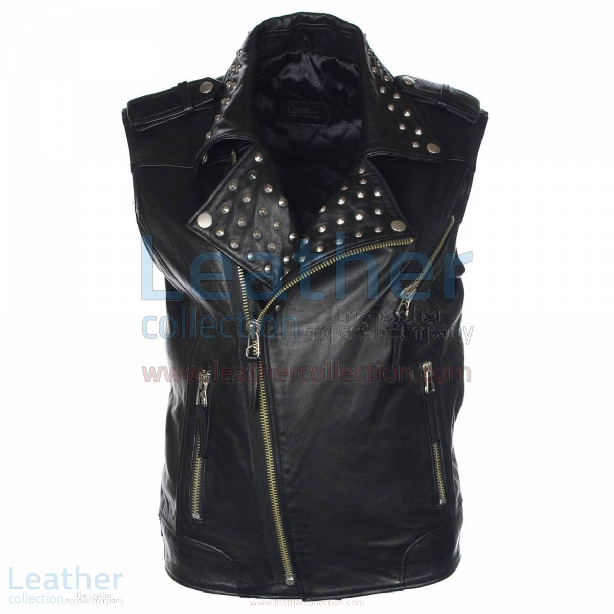 Men Studded Collar Biker Leather Vest –  Vest