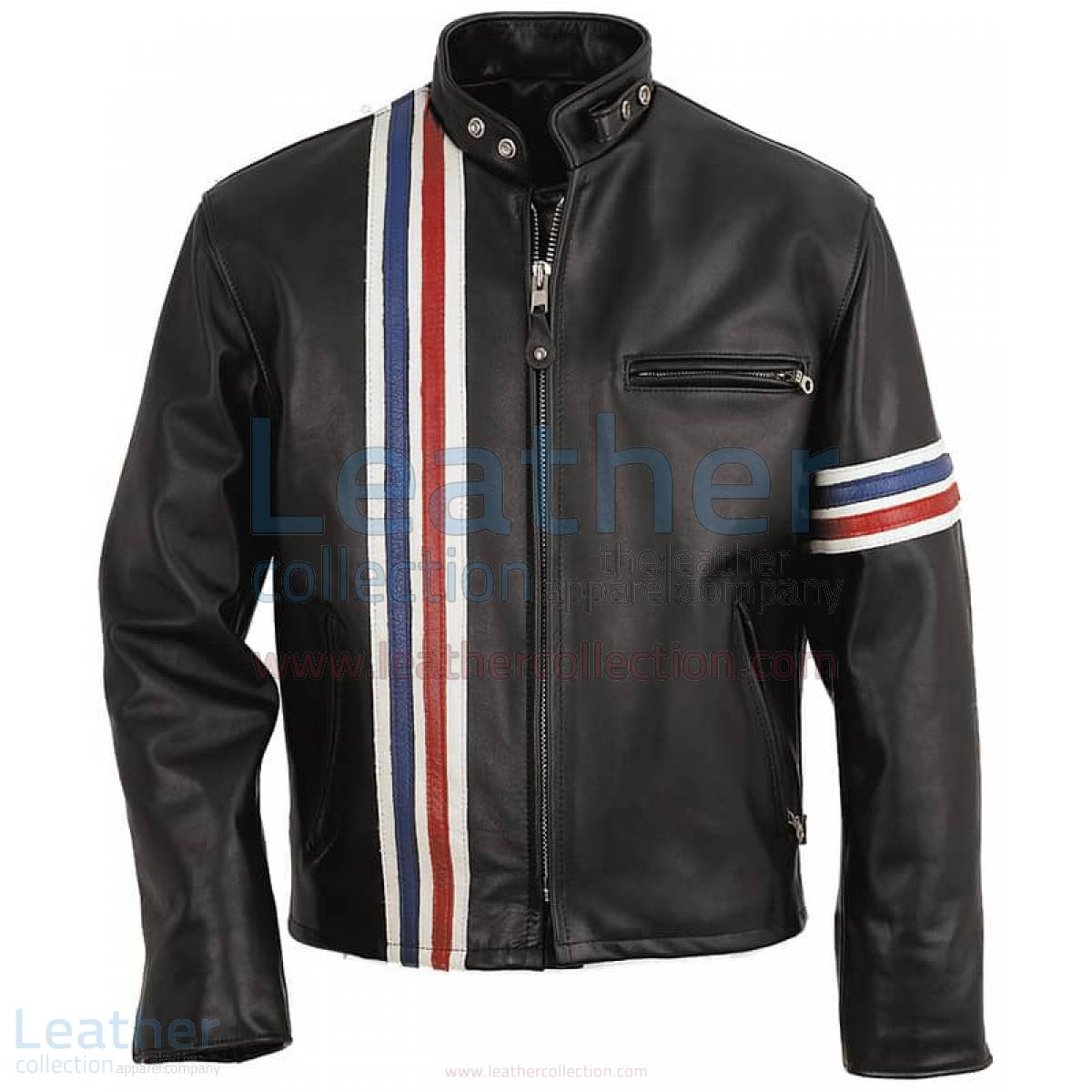 Vertical Stripes Biker Fashion Leather Jacket