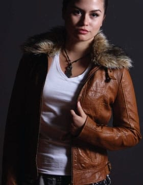 Leather jacket with fur collar womens