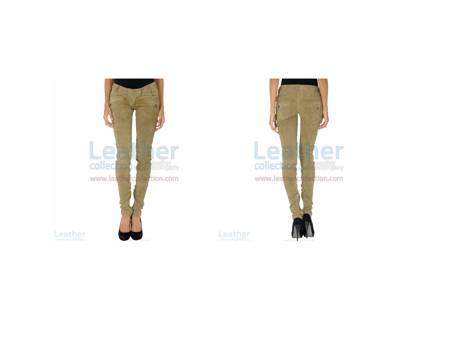BEIGE LEATHER SUEDE PANT LADIES