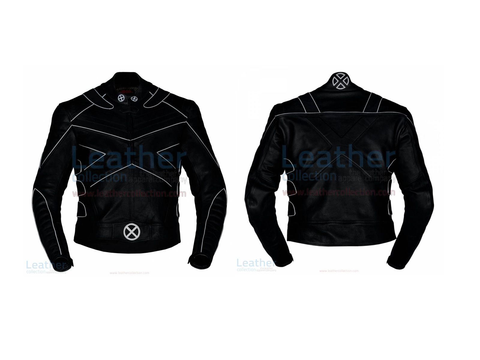 X-MEN MOTORBIKE LEATHER RIDING JACKET WITH SILVER PIPING