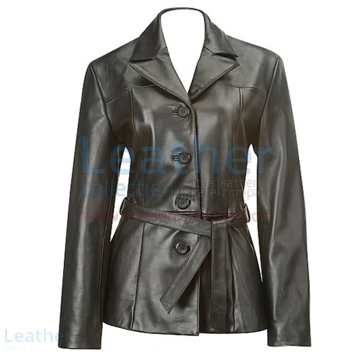 Order Now Belted Baby Doll Leather Coat for £220.40 in UK