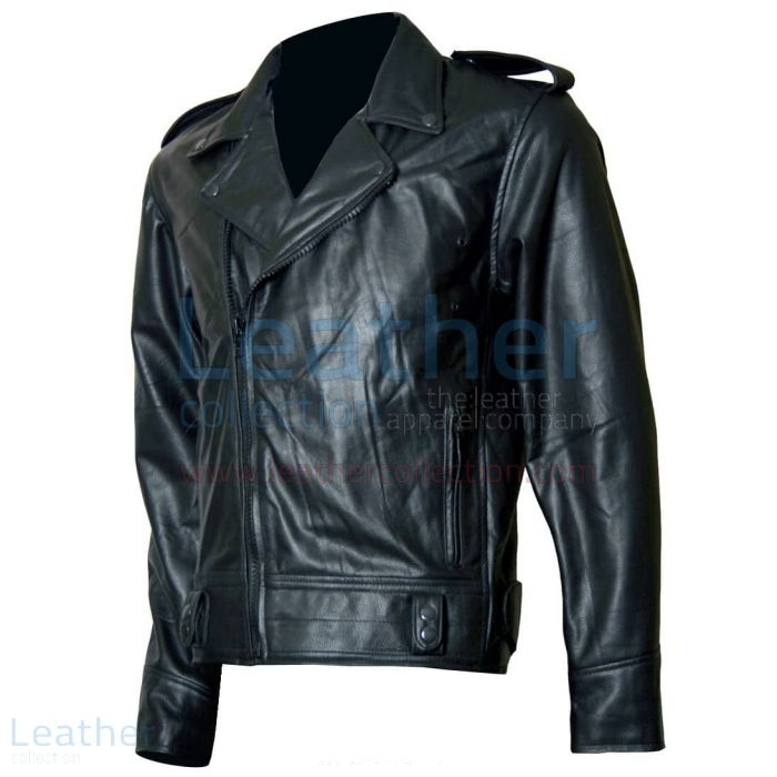 Biker Boyz Smoke Biker Black Leather Jacket front