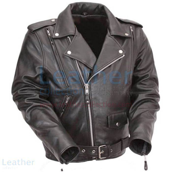 Pick up Now Black Leather Motorcycle Jacket with Exclusive Built-in Ba