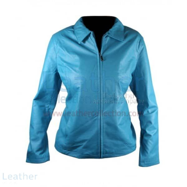 Pick up Online Classic Ladies Blue Leather Jacket for CA$275.10 in Can
