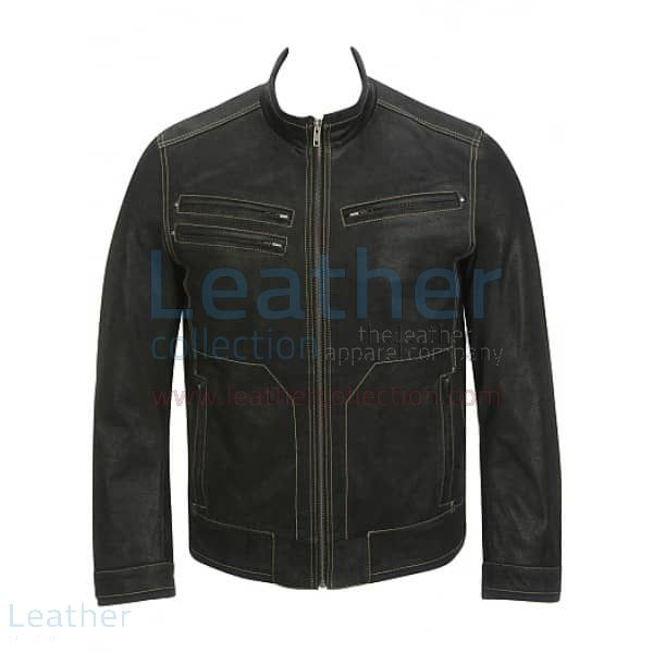 Grab Now Contrast Stitches Black Moto Fashion Leather Jacket for ¥22,