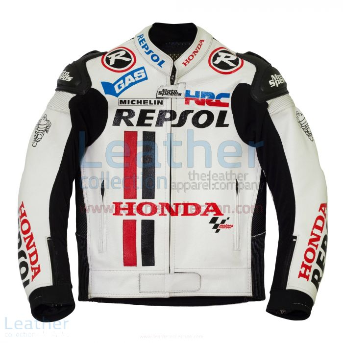 Honda Repsol White Leather Race Jacket front view