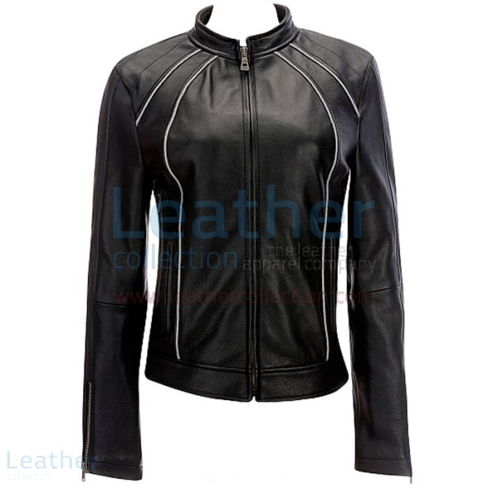 Leather Ladies Jacket With Piping front view