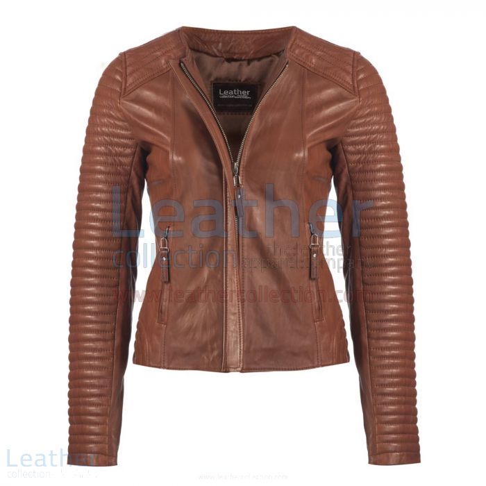 Pick Online Heritage Ladies Fashion Leather Jacket Grey for CA$522.69