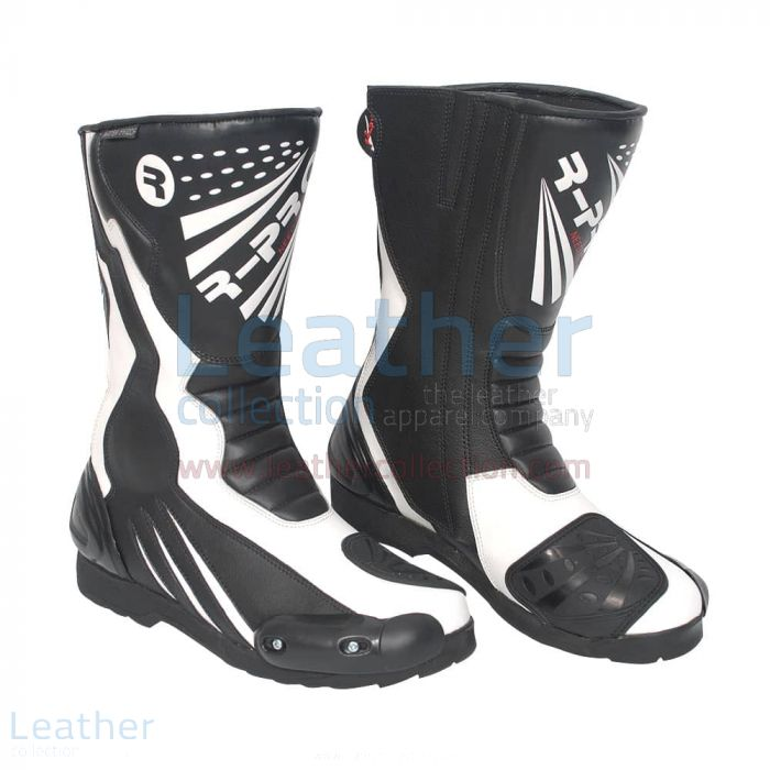 Get Now Legend Leather Moto Boots Black & White for SEK1,751.20 in Swe