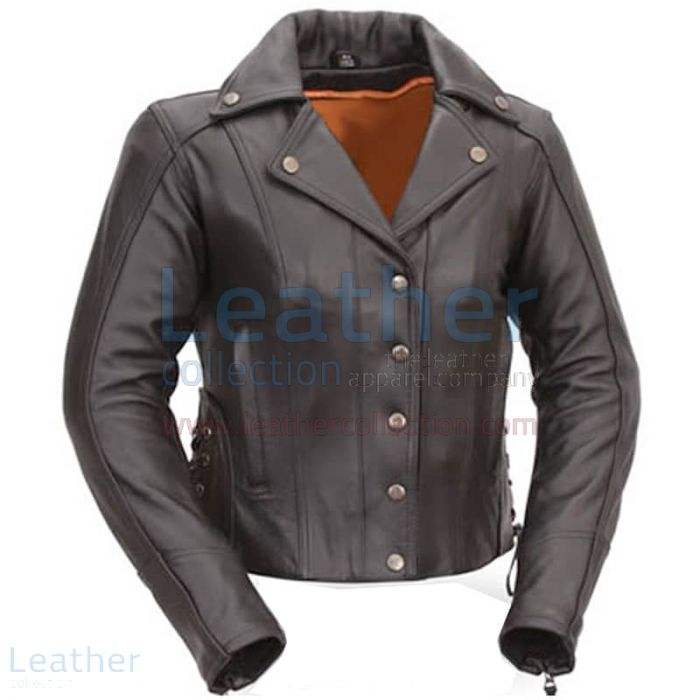 Pick up Now Mens Classic Motorcycle Jacket with Gun Metal Hardware for