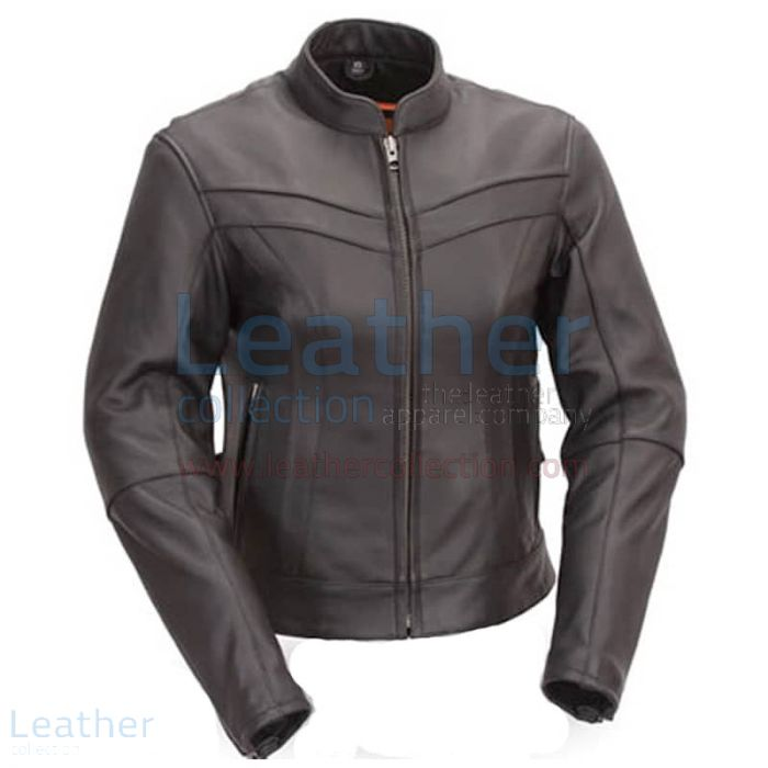 Get Now Motorcycle Touring Mandarin Collar Leather Jacket for ¥22,288