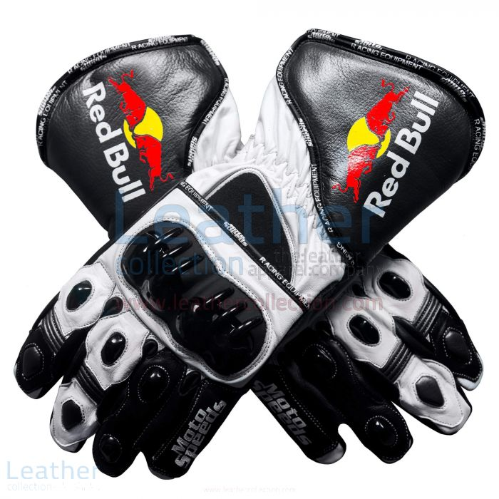 Red Bull Motorcycle Leather Gloves upper view
