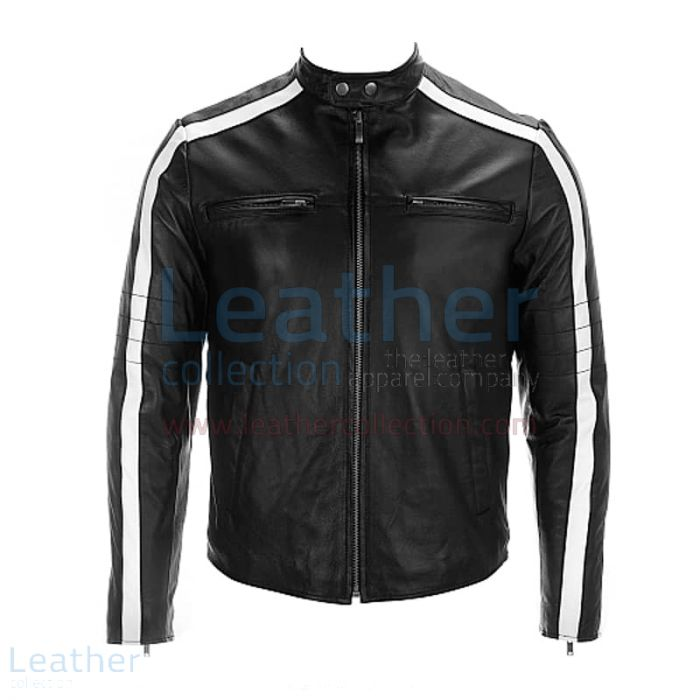 Pick Online Semi Moto Leather Jacket With Stripes on Sleeves for ¥21,