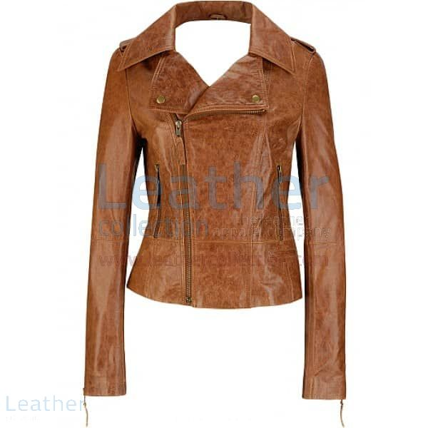 Short Body Distressed Leather Jacket front view