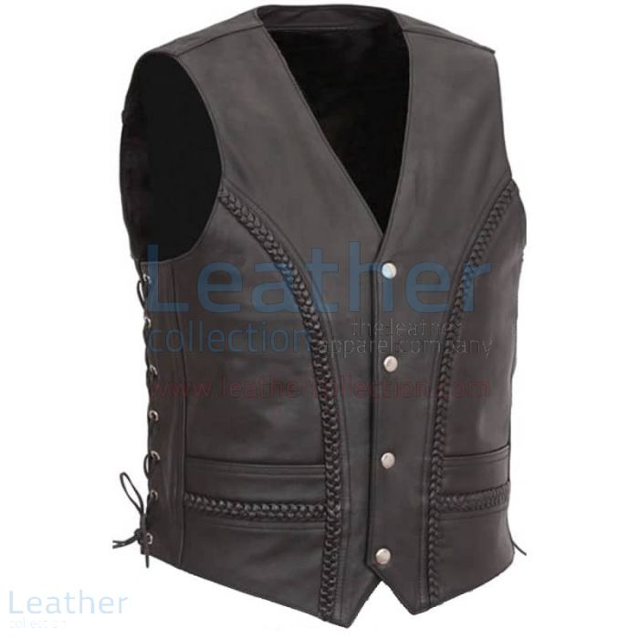 Shop Now Men Leather Vest with Concealed Snap Front Closure for CA$178