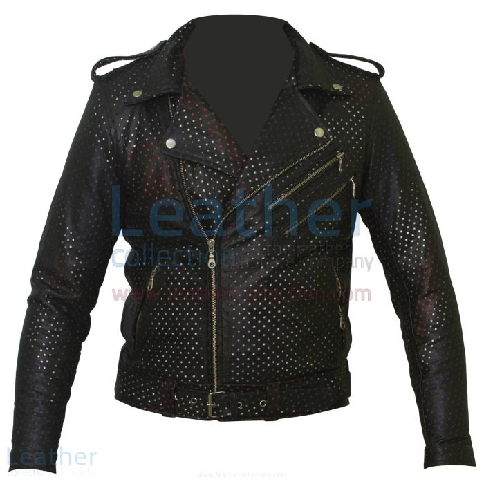 Perforated Leather Jacket – Union Jack Jacket | Leather Collection