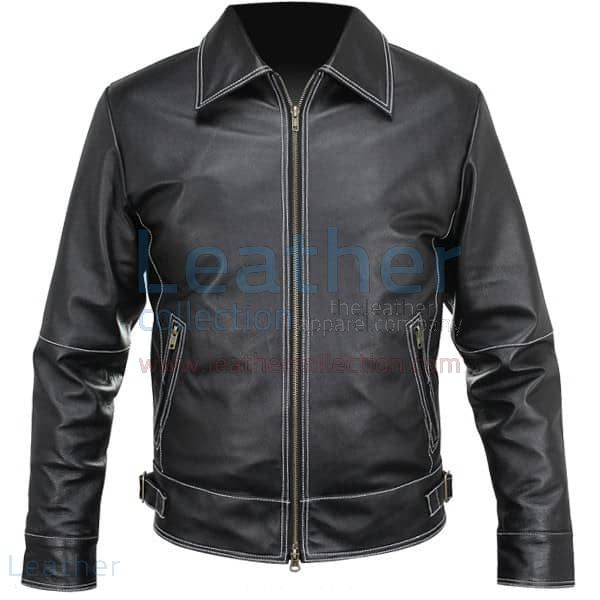 Buy Now White Stitches Matte Leather Jacket For Men for ¥23,520.00 in