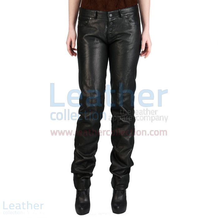 Find Our Jeans Style Wide Calves Leather Pants