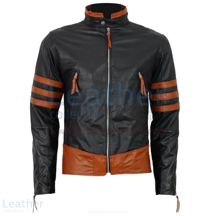 Pick up X-MEN Wolverine Origins Biker Style Black Leather Jacket for C