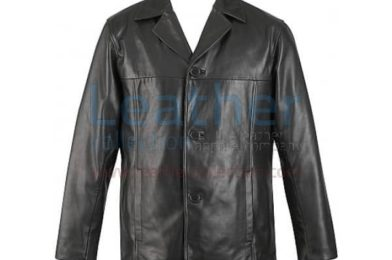 MENS 3 BUTTON LEATHER BLAZER