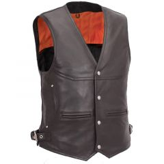 LEATHER BIKER VEST MENS WITH DEEP FRONT POCKETS