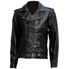 "TERMINATOR "" ARNOLD "" BIKER LEATHER JACKET"