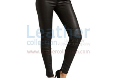 BLACK LEATHER SKINNY JEANS WITH PATTERNS